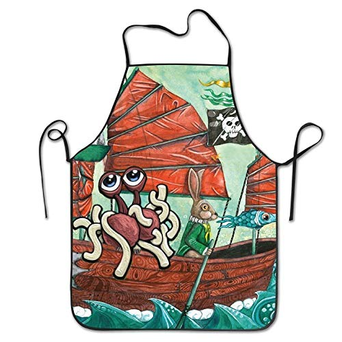 shjsertjs Cat Pirate Ship Fish Rabbit Mouse Deluxe Cute Aprons Personalized Printing Kitchen Cute Apron -