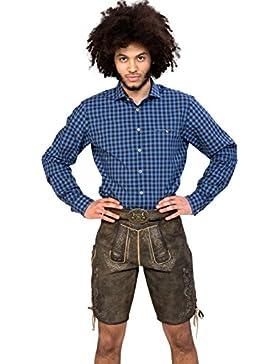 Almwerk Herren Trachten Lederhose kurz Modell Otto mit Gürtel in braun, dunkelbraun und hellbraun