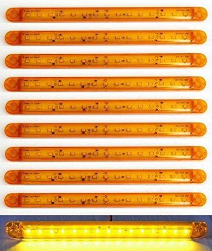 Preisvergleich Produktbild 10 x LANGE orange Bernstein 15 LEDs 12 V 24 V Seite Outline Marker Lights Truck Chassis Trailer Camper Kippmulde Caravan Bus