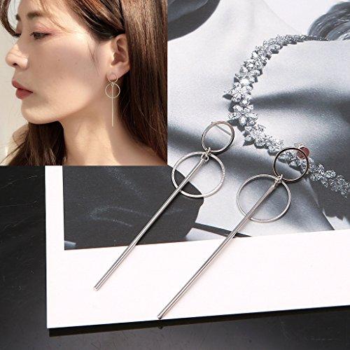 YiFeiCT - Pendientes coreanos de doble círculo colgantes geométricos BTS Drop Earring joyas para mujer