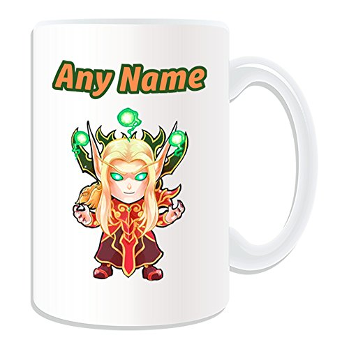 Regalo personalizzato - Tazza grande kael' Thas Sunstrider (Mmorpg design motivo, bianco) - qualsiasi nome/messaggio personalizzato - World of Warcraft online Game Rpg Blizzard Wow Alliance Horde Burning Crusade Wrath Lich King Cataclysm Nebbie Pandaria Warlords Draenor legion Blood Elf Prince Lord Mage Warrior Silvermoon Kaelthas RAID Dungeon Boss