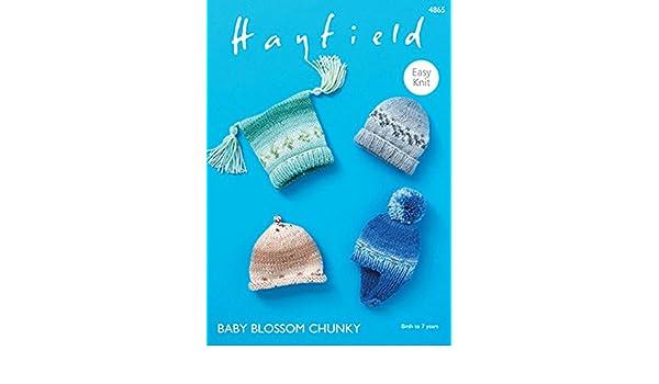 fb58592fcfe4 Hayfield Baby Hats Baby Blossom Knitting Pattern 4865 Chunky  Amazon ...