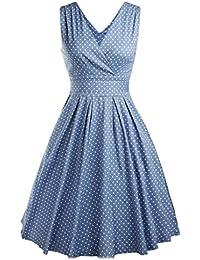 OOFIT Robe Années 50's Vintage 1950's Audrey Hepburn Pin-Up Robe De Soirée Cocktail, Style Halter Années 50's à Pois Taille 34-42 4 couleurs à choisir