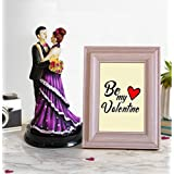 Tied Ribbons Romantic Wood Showpiece with Photo Frame (15.01 cm x 0.99 cm x 22 cm, TR-VL18-ResinColorCouple020)