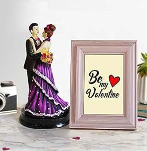 TIED RIBBONS Romantic Wood Showpiece with Photo Frame (15.01 cm x 0.99 cm x 22 cm, TR VL18 ResinColorCouple020)