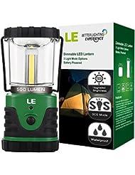 LE Farol LED portátil de camping, a pilas, 3 modos 500lm 9W Resistente