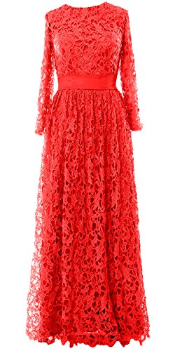 MACloth Women Long Sleeve Lace Long Mother of Bride Dress Formal Evening Gown Rot