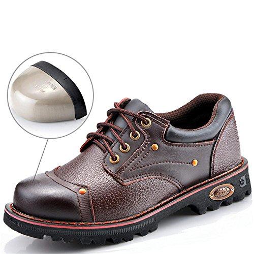 Männer Frauen Leder Stahlkappe Arbeit Leichte Sicherheitsschuhe Größe 36 To44 , Brown , EU44 -