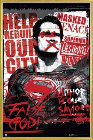 1art1® Batman Vs Superman Póster con Marco (Plástico) - Superman False God (91 x 61cm)
