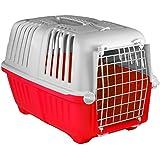 Transportbox für Hund und Katze tiertransportbox Hundetransportbox Hundebox Katzenbox Katzentransportbox 47 x 30 x 30cm groß - Rot grau