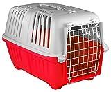 My-goodbuy24 Transportbox für Hund und Katze tiertransportbox Hundetransportbox Hundebox Katzenbox Katzentransportbox 47 x 30 x 30cm groß - Rot Grau