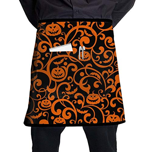 expensive Gift - Pumpkin Orange Texture Chef Half Apron for Men Women Useful Multi-Functional Pockets Ideal for BBQ Grill Kitchen Or Restaurants ()