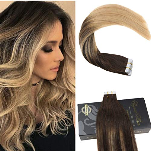 """Ugeat 18"""" Balayage Tape in Remy Haar Extensions 50Gram #2/4/12 Farbe Brun mit Farbe Blond Double Weft Ombre PU Tape in Tressen Echthaar Extensions"""