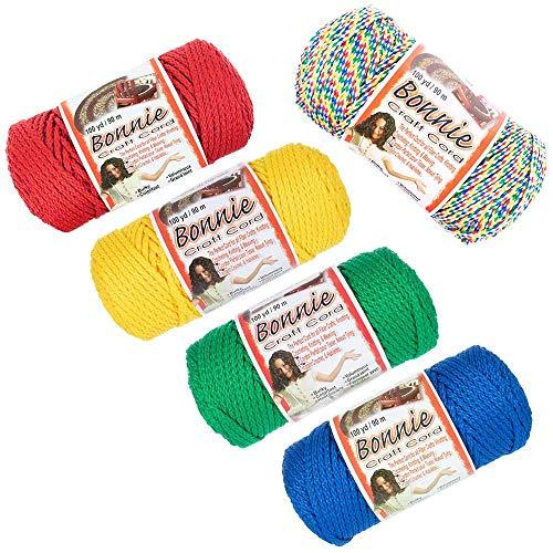 Craft County Bonnie Makramee-Schnur - 4 mm und 6 mm - 100 m Länge, verschiedene Farben 4 MM Rainbow with White