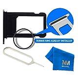 MMOBIEL Tiroir carte micro-SIM de rechange (Noir de Jais) pour iPhone 7 Plus (5,5 pouces) avec joint étanche + Chiffon microfibres et Aiguille / tige d'éjection inclus