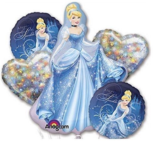Disney Princess Cinderella Balloon Birthday Party Favor Supplies 5ct Foil Balloon Bouquet by Beyondstore