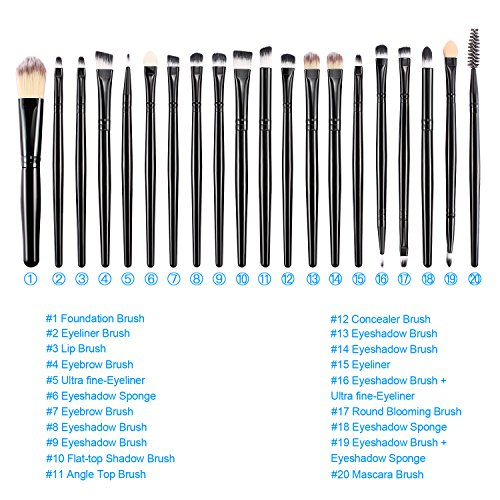 BESTOPE Makeup Brushes 20 Pieces Makeup Brush Set Professional Face Eyeliner Shadow Blush Cosmetic Brushes Set for Powder Liquid Cream
