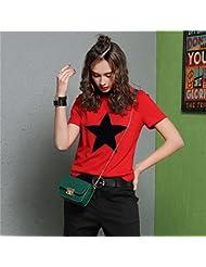 Heart&M de las mujeres de cuello redondo suéter de la corto manga simples Cuentas camiseta de algodón Casual Tops Las camisetas . xl . red