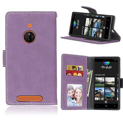 MAXJCN Telefonkasten Für Nokia Lumia 830, Retro Stil Einfarbig Premium PU Leder Brieftasche Fall Flip Folio Schutzhülle Abdeckung Mit Kartensteckplatz/Ständer, Modisch langlebig. (Farbe : Lila) - Nokia Fall 830 Lumia Geldbörse