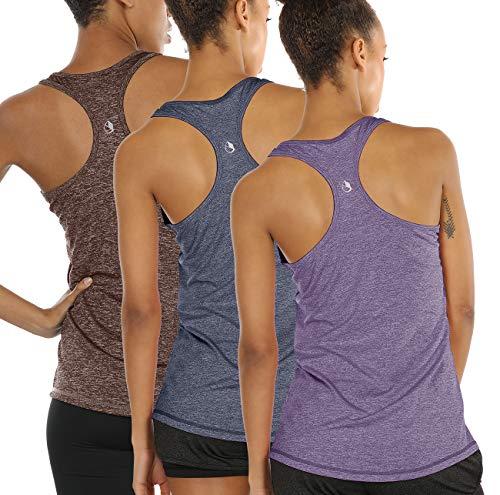 icyzone Damen Sporttop Yoga Tank Top Ringerrücken Oberteil Laufen Fitness Funktions Shirt (M, Henna/Twilight Purple/Navy)