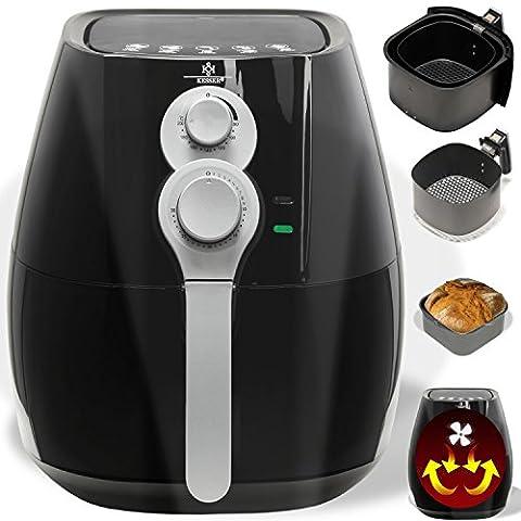 Kesser® Friteuse Fritteuse ✓ Heißluftfritteuse ✓ inklusive Brotbackkorb ✓ Ofen ✓ Backofen ✓ Heißluft ✓Grill | Fettfrei | verschiedene Farben, Modell:Schwarz /