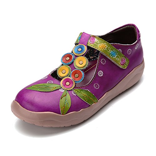 gracosy Damen Leder Slipper, Espadrilles Mary Jane Schuhe Damen Sandalen Halbschuhe Blume Metallic Vintage Leder-Optik Flache Schuhe Lila 38