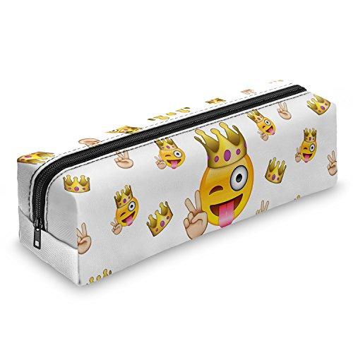 Emoji King Smiley Emoticon Federmäppchen Schuletui Federmappe Mäppchen Stifteetui Schlamperbox Stifte Schule Makeup Pinselbox Pinsel