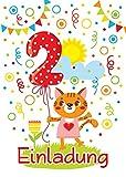 JuNa-Experten 12 Einladungskarten 2. Kindergeburtstag Mädchen Katze Tiere zweite Geburtstag Geburtstagseinladungen Einladungen Geburtstags-Party Kartenset