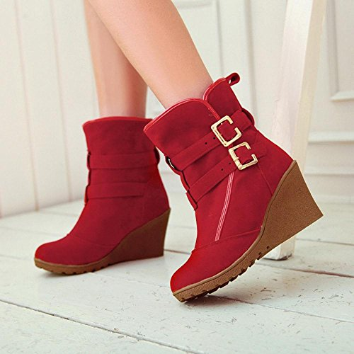 TAOFFEN Femmes Hiver Bottes Compensees red