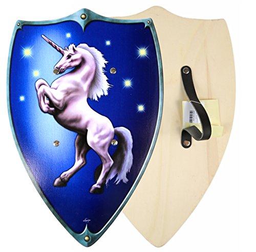 (Kinder Tempel Ritter Wikinger Krieger Schild aus Holz Karneval mit Einhorn Fasching)