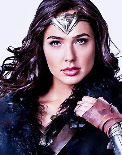 Wonder Woman Diana Prince Cosplay Perücke, lang, schwarz, gewellt, Seitenscheitel, nur Haar, ohne Stirnband, lange Körperwelle, schwarzes Haar, Kunsthaar, hitzebeständig, gewellt, für Frauen