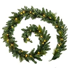 9ft Pre-Lit Garland Christmas Decoration Illuminated with 40 Warm White LED Lights