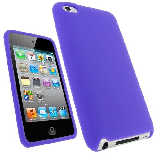 igadgitz Housse Etui Pochette Coque Case en Silicone de couleur Pourpre pour Apple iPod Touch 4G 4ème Gen Génération 8 go gb 32 go gb & 64 go gb + protecteur d'écran