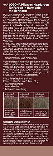 LOGONA Naturkosmetik Coloration Pflanzenhaarfarbe, Pulver - 080 Braun-Natur - Braun, Natürliche & pflegende Haarfärbung (100g) - 2