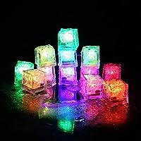 Jueven Party Decorative LED Ice Cubes Light Multi-Color Liquid Sensor Ice Cubes Light LED Glow Light Drinking Wine Wedding Party Decoration, 12 Pcs