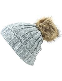 Hawkins Câble pour enfant bonnet en tricot avec pompon en fourrure synthétique et côtelé