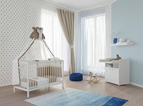 Polini Kids Babyzimmer Set 3-teilig Babybett mit Wickelkommode und Matratze