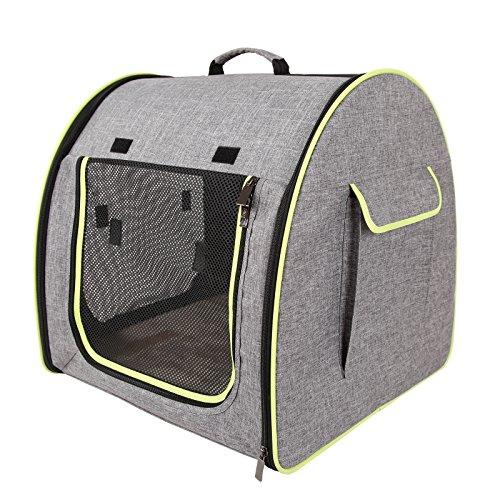 Petsfit weiches tragbares Stoffkatzenhaus / Kiste, für drinnen und draußen, Hundehütte mit abnehmbarer Matte, Schlafbett für Katze, Farbe hellgrau, 51cm x 48cm x 51cm