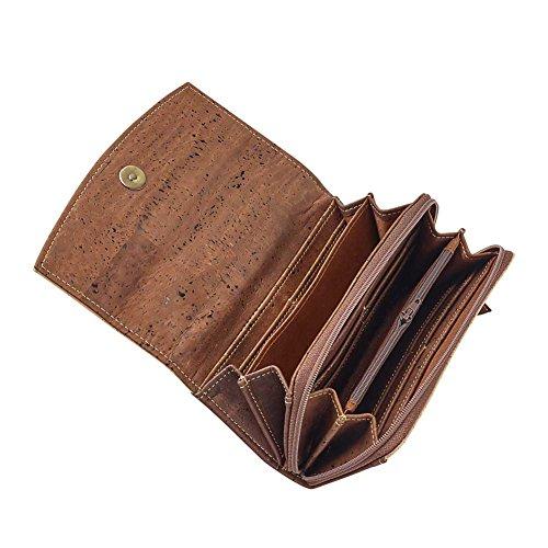 Vegan Clutch Geldbeutel Portemonnaie mit Magnetverschluss und vielen Fächerndunkelbraun aus Korkleder Dunkelbraun