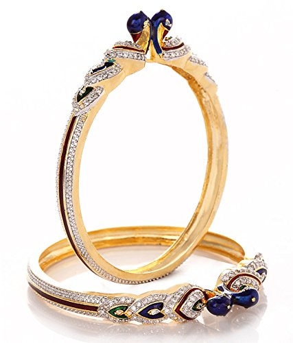 Jewels Galaxy Multicolor Gold-Plated American Diamond Studded Bangle Set For Women