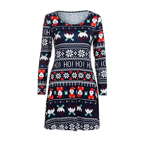 Damen Weihnachten Kleid FORH Frauen Christmas santa muster Drucken Schaukel Kleid Erfreulich Rundhals Abendkleider Elegant Langarm Printkleider Retro Festival kleider (XL, Blau) (Pinguin-kurzarm-pullover)
