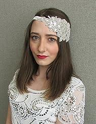 Silber Strass Haarschmuck 1920er Haarband Vintage Great Gatsby 1930V24Stil der Zwanzigerjahre