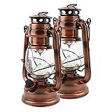 Hehilark Sturmlampen LED Sturmlaterne Bronze Vintage Retro Campinglaterne Sturmlaterne Campingleuchte Ideal für Terrasse, Garten, Balkon.[Energieklasse A++]