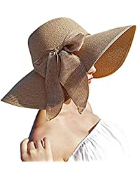 DRESHOW Sombrero de paja Big Bowknot para mujer Floppy plegable Gorra de  playa Sun Hat UPF 1e305e5f6c2
