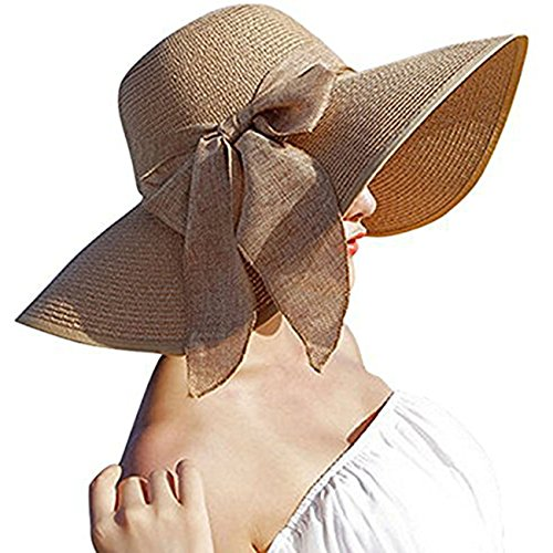 DRESHOW Stroh Sommerhut Mit Sonnen Shade Bogen UPF 50+ Schlaff Aufrollen Strand Sonnenblende Böhmen Sonnenhut Hut für Damen