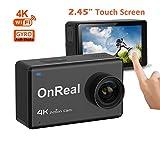 OnReal Sport Kamera 4K 16MP Wasserdichte Wifi Sport Cam mit 2,45 Touchscreen 170 Grad Weitwinkel Unterstützt Burst Mode