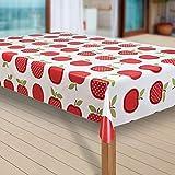 laro Wachstuch-Tischdecke Abwaschbar Garten-Tischdecke Wachstischdecke PVC Plastik-Tischdecken Outdoor Eckig Meterware Wetterfest Wasserabweisend Abwischbar G08, Größe:90x90 cm, Muster:Apfel Obst rot