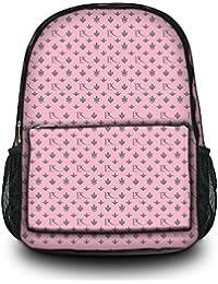 Luxburg® Design sac à dos multifonction cartable collège backpack, motif: LX rose-gris