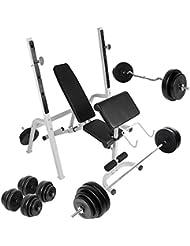 Physionics - Juego de banco de pesas con reposabarras, barra curva, mancuernas y barra larga (28 pesas de 1 a 10 kg)