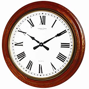 London Clock Solid Wood Traditional Oak Finish Wall